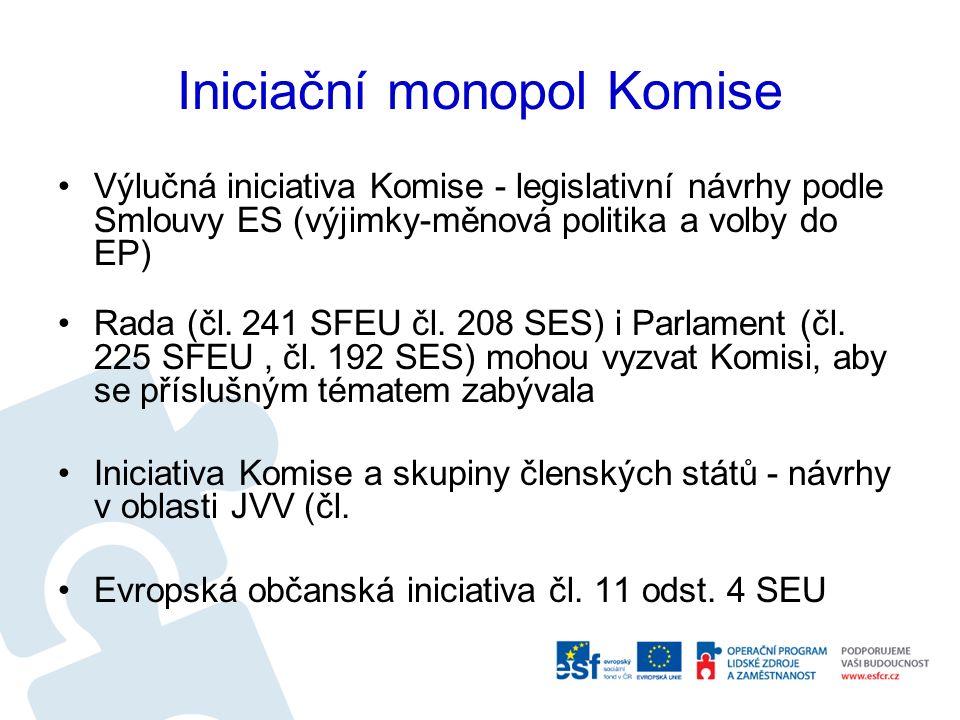 Iniciační monopol Komise Výlučná iniciativa Komise - legislativní návrhy podle Smlouvy ES (výjimky-měnová politika a volby do EP) Rada (čl. 241 SFEU č