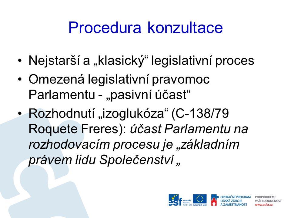 """Procedura konzultace Nejstarší a """"klasický legislativní proces Omezená legislativní pravomoc Parlamentu - """"pasivní účast Rozhodnutí """"izoglukóza (C-138/79 Roquete Freres): účast Parlamentu na rozhodovacím procesu je """"základním právem lidu Společenství """""""