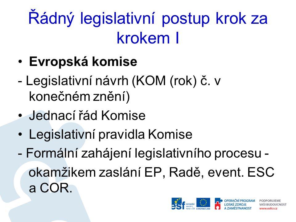Řádný legislativní postup krok za krokem I Evropská komise - Legislativní návrh (KOM (rok) č. v konečném znění) Jednací řád Komise Legislativní pravid