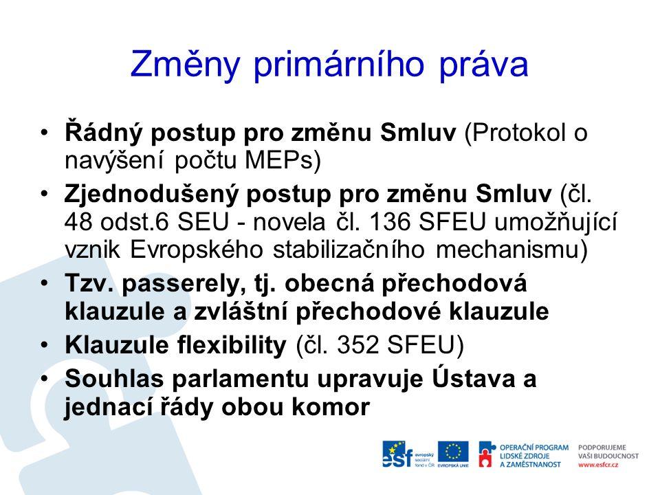 Změny primárního práva Řádný postup pro změnu Smluv (Protokol o navýšení počtu MEPs) Zjednodušený postup pro změnu Smluv (čl. 48 odst.6 SEU - novela č