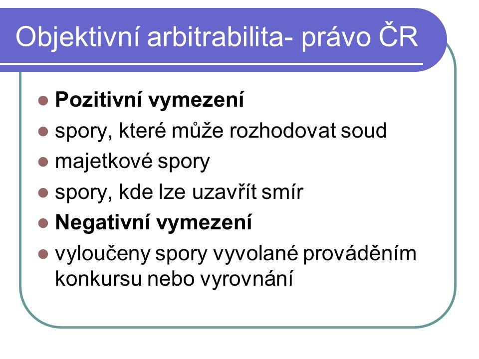 Objektivní arbitrabilita- právo ČR Pozitivní vymezení spory, které může rozhodovat soud majetkové spory spory, kde lze uzavřít smír Negativní vymezení vyloučeny spory vyvolané prováděním konkursu nebo vyrovnání