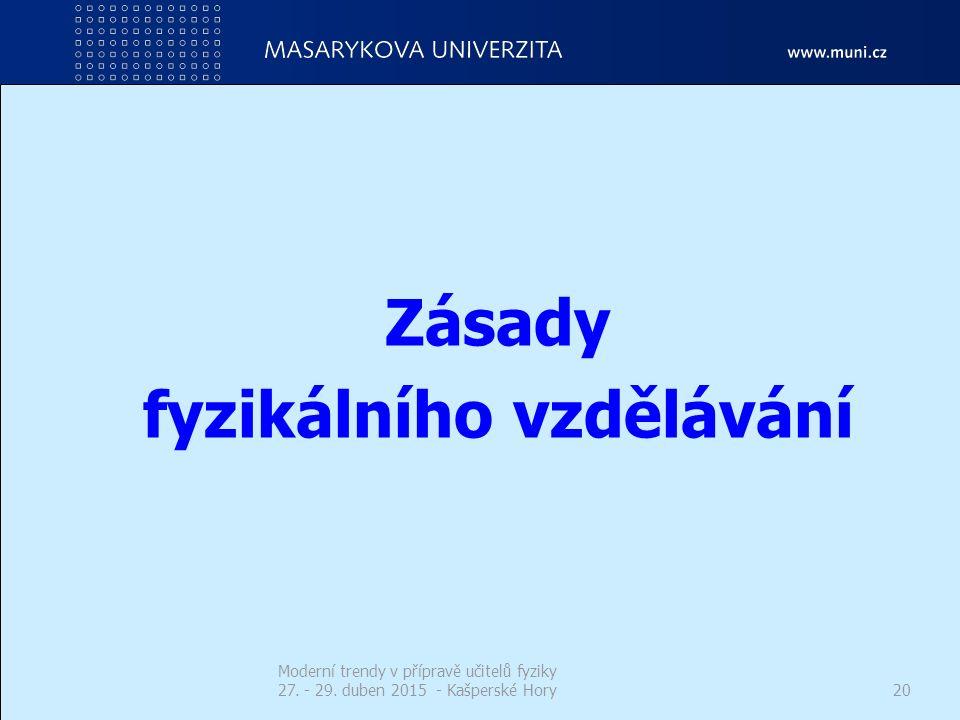 Zásady fyzikálního vzdělávání Moderní trendy v přípravě učitelů fyziky 27. - 29. duben 2015 - Kašperské Hory20