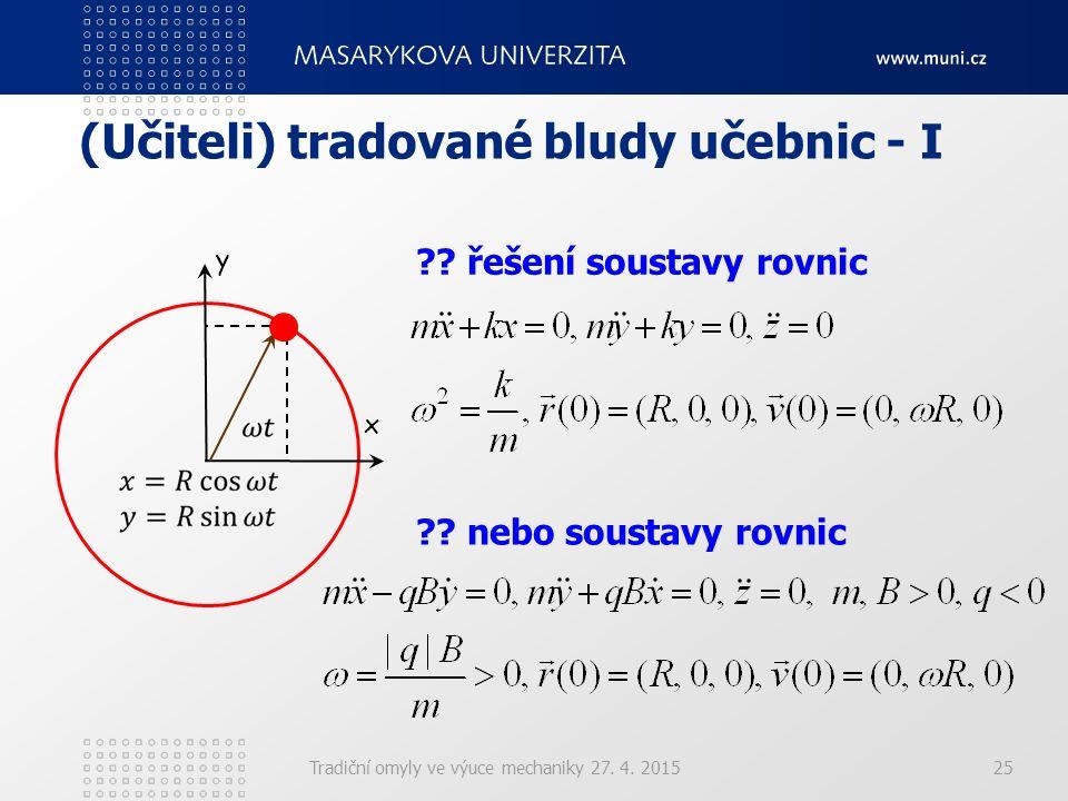 (Učiteli) tradované bludy učebnic - I Tradiční omyly ve výuce mechaniky 27. 4. 201525 y x ?? řešení soustavy rovnic ?? nebo soustavy rovnic