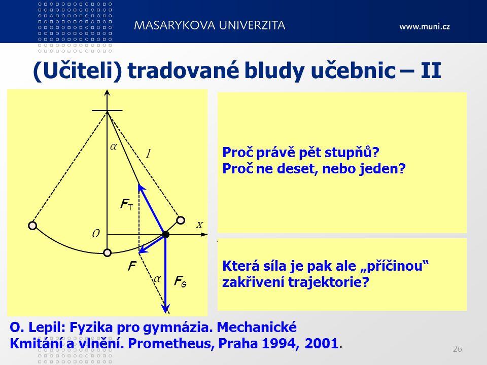 """(Učiteli) tradované bludy učebnic – II """"Příčinou kmitavého pohybu kyvadla je síla F (obr. 1-21b)), která je výslednicí tíhové síly F G a tahové síly F"""