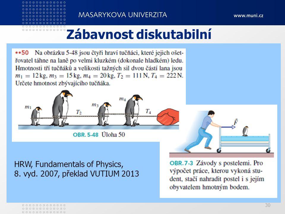 30 Zábavnost diskutabilní HRW, Fundamentals of Physics, 8. vyd. 2007, překlad VUTIUM 2013