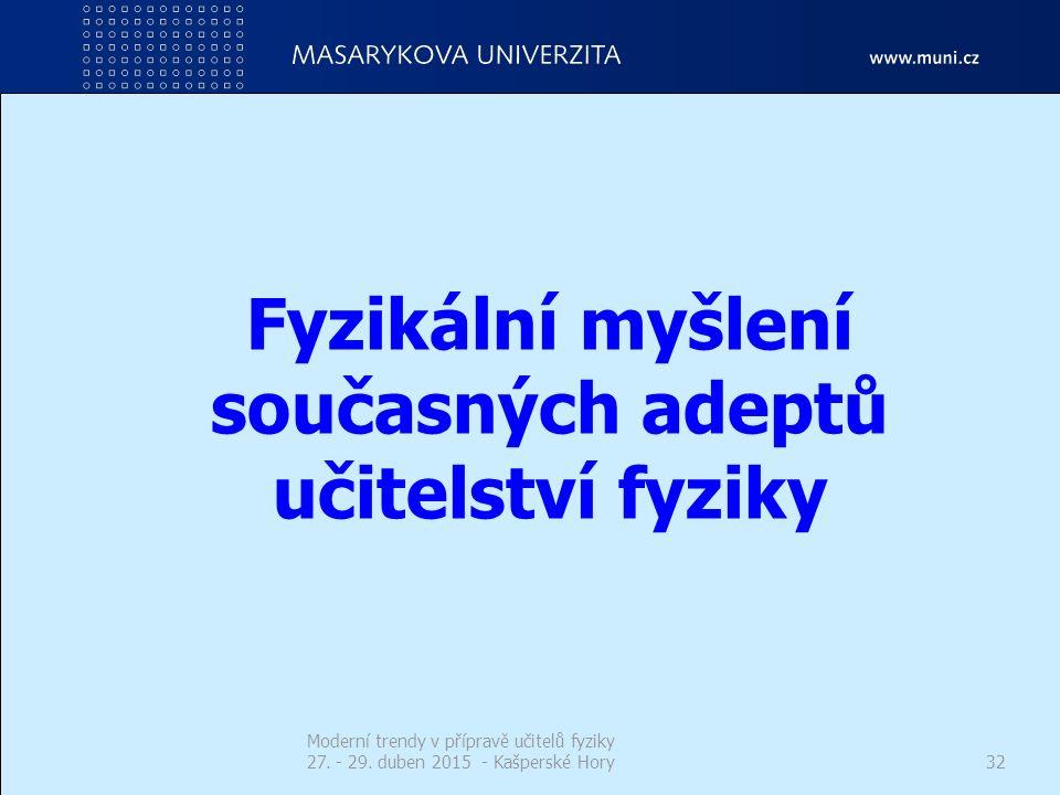 Fyzikální myšlení současných adeptů učitelství fyziky Moderní trendy v přípravě učitelů fyziky 27. - 29. duben 2015 - Kašperské Hory32