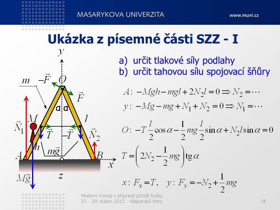 Ukázka z písemné části SZZ - I Moderní trendy v přípravě učitelů fyziky 27. - 29. duben 2015 - Kašperské Hory34 αα a)určit tlakové síly podlahy b)urči