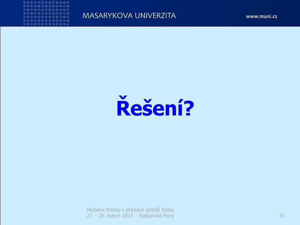 Řešení? Moderní trendy v přípravě učitelů fyziky 27. - 29. duben 2015 - Kašperské Hory36