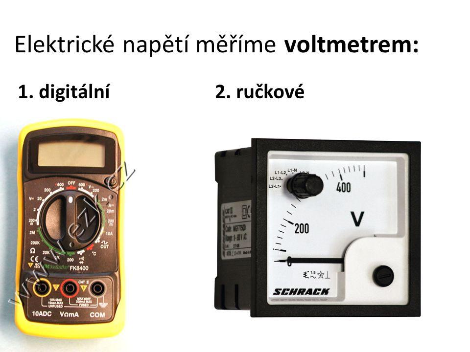 nejvíce se používají digitální voltmetry, které měří i další veličiny – multimetry schematická značka voltmetru: