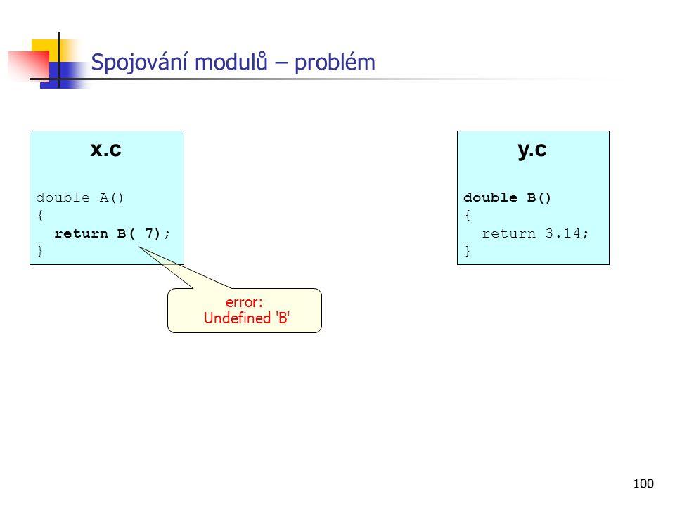 100 x.c double A() { return B( 7); } Spojování modulů – problém error: Undefined 'B' y.c double B() { return 3.14; }