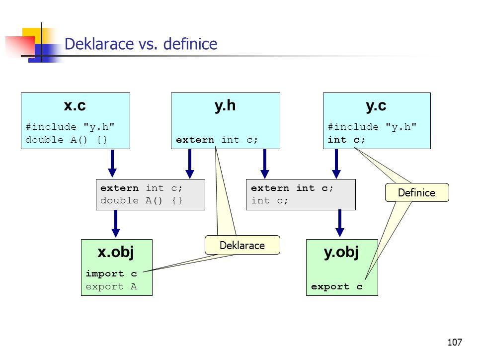 107 y.obj export c Deklarace vs. definice x.c #include