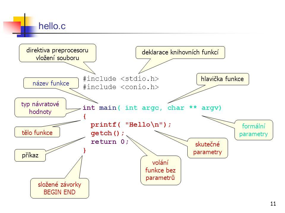 11 hello.c #include #include int main( int argc, char ** argv) { printf( Hello\n ); getch(); return 0; } tělo funkce hlavička funkce příkaz deklarace knihovních funkcí direktiva preprocesoru vložení souboru formální parametry název funkce typ návratové hodnoty skutečné parametry volání funkce bez parametrů složené závorky BEGIN END