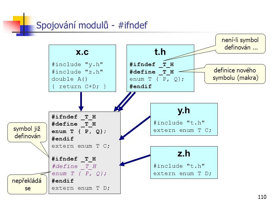 110 Spojování modulů - #ifndef x.c #include