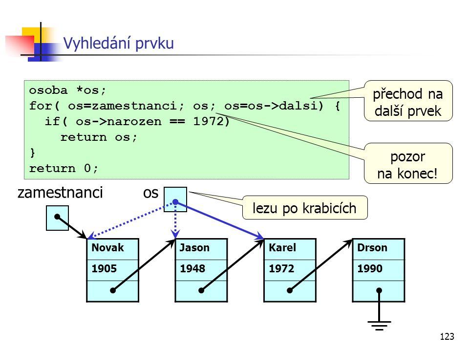 123 Vyhledání prvku osoba *os; for( os=zamestnanci; os; os=os->dalsi) { if( os->narozen == 1972) return os; } return 0; zamestnancios Karel 1972 Novak