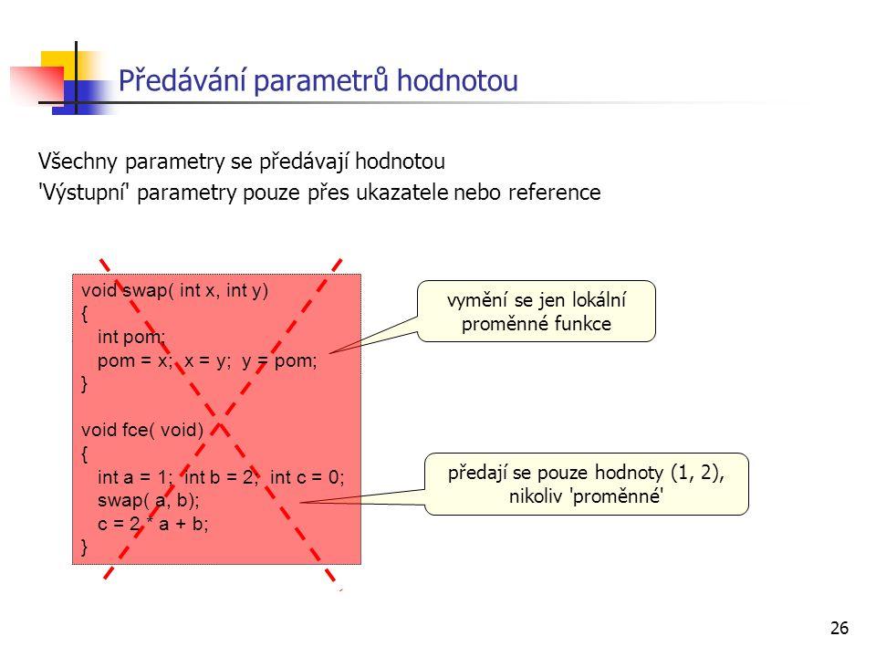 26 Předávání parametrů hodnotou Všechny parametry se předávají hodnotou Výstupní parametry pouze přes ukazatele nebo reference vymění se jen lokální proměnné funkce předají se pouze hodnoty (1, 2), nikoliv proměnné void swap( int x, int y) { int pom; pom = x; x = y; y = pom; } void fce( void) { int a = 1; int b = 2; int c = 0; swap( a, b); c = 2 * a + b; }