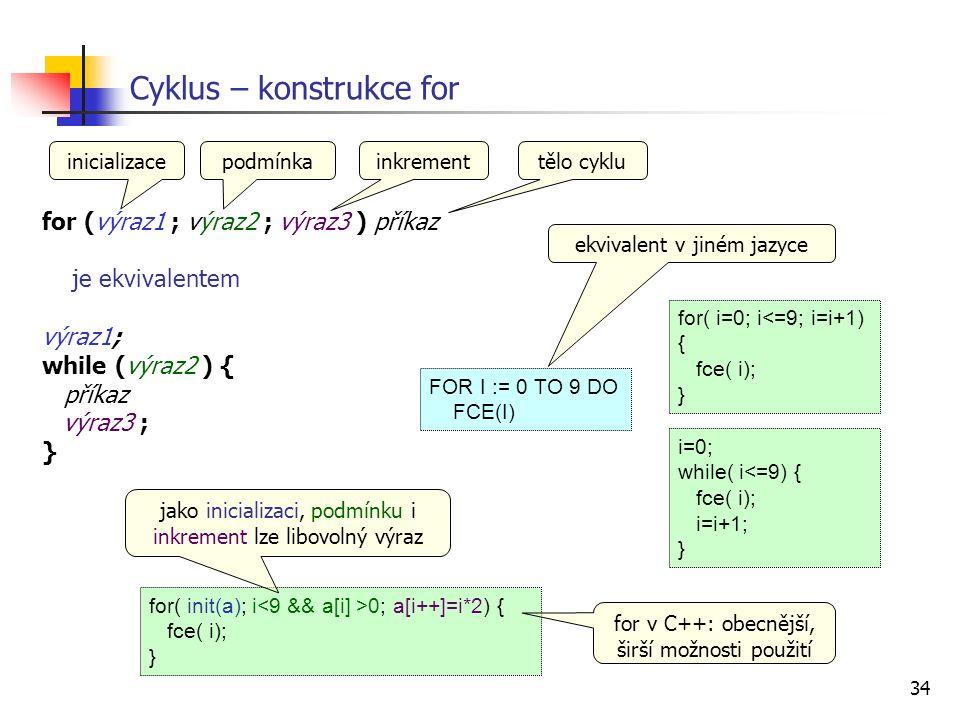 34 for (výraz1 ; výraz2 ; výraz3 ) příkaz je ekvivalentem výraz1; while (výraz2 ) { příkaz výraz3 ; } Cyklus – konstrukce for i=0; while( i<=9) { fce( i); i=i+1; } inicializace for( i=0; i<=9; i=i+1) { fce( i); } podmínkainkrementtělo cyklu FOR I := 0 TO 9 DO FCE(I) ekvivalent v jiném jazyce for( init(a); i 0; a[i++]=i*2) { fce( i); } for v C++: obecnější, širší možnosti použití jako inicializaci, podmínku i inkrement lze libovolný výraz