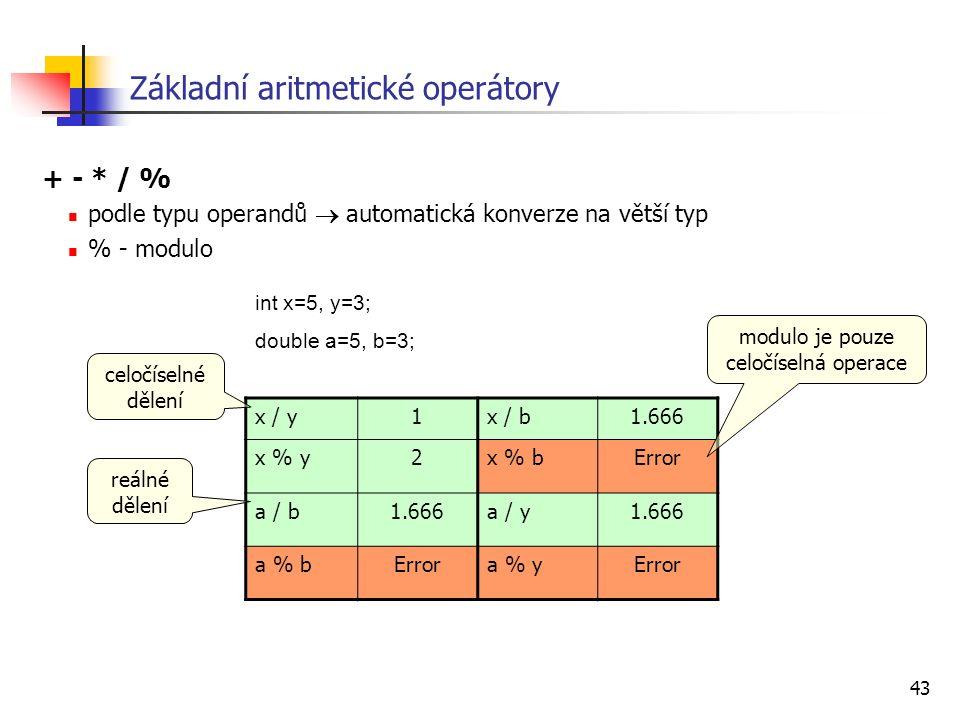 43 Základní aritmetické operátory + - * / % podle typu operandů  automatická konverze na větší typ % - modulo x / y1x / b1.666 x % y2x % bError a / b1.666a / y1.666 a % bErrora % yError int x=5, y=3; double a=5, b=3; modulo je pouze celočíselná operace celočíselné dělení reálné dělení