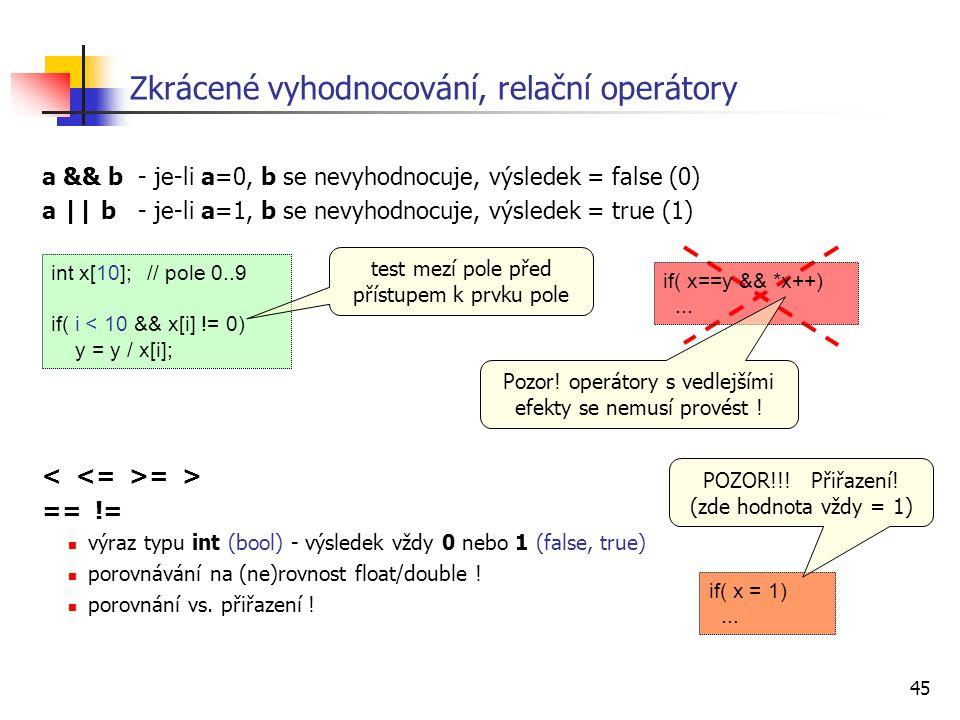 45 Zkrácené vyhodnocování, relační operátory a && b- je-li a=0, b se nevyhodnocuje, výsledek = false (0) a || b- je-li a=1, b se nevyhodnocuje, výsledek = true (1) = > == != výraz typu int (bool) - výsledek vždy 0 nebo 1 (false, true) porovnávání na (ne)rovnost float/double .