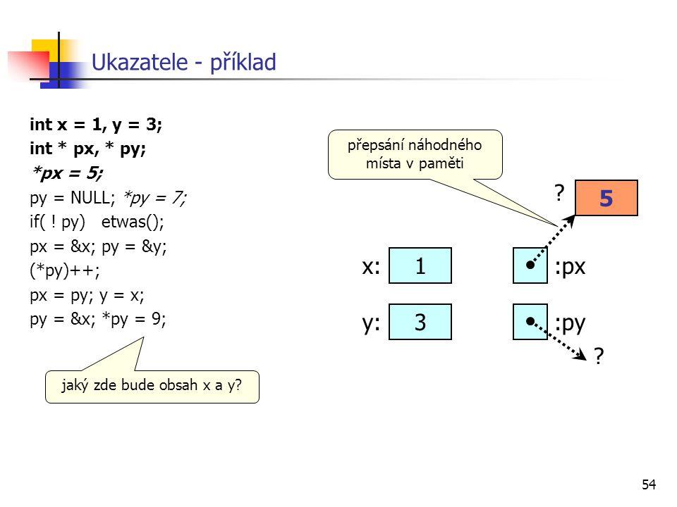 54 Ukazatele - příklad int x = 1, y = 3; int * px, * py; *px = 5; py = NULL; *py = 7; if( ! py) etwas(); px = &x; py = &y; (*py)++; px = py; y = x; py