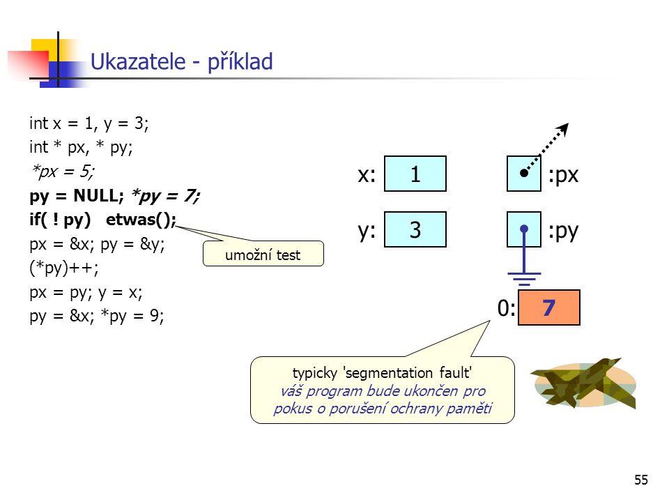 55 Ukazatele - příklad int x = 1, y = 3; int * px, * py; *px = 5; py = NULL; *py = 7; if( ! py) etwas(); px = &x; py = &y; (*py)++; px = py; y = x; py