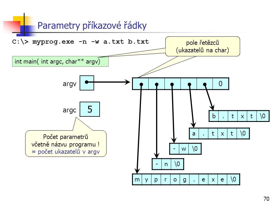 70 Parametry příkazové řádky C:\> myprog.exe -n -w a.txt b.txt 0 myprog.exe\0 -n -w a.txt b.txt argv 5 argc int main( int argc, char** argv) pole řetězců (ukazatelů na char) Počet parametrů včetně názvu programu .