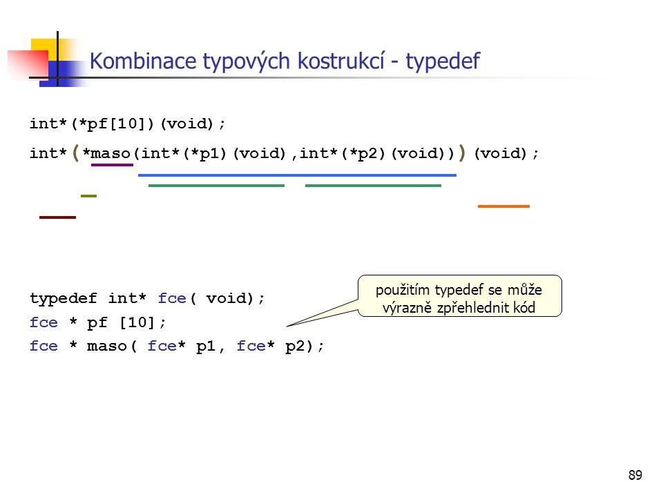 89 int*(*pf[10])(void); int* ( *maso(int*(*p1)(void),int*(*p2)(void)) ) (void); typedef int* fce( void); fce * pf [10]; fce * maso( fce* p1, fce* p2); Kombinace typových kostrukcí - typedef použitím typedef se může výrazně zpřehlednit kód