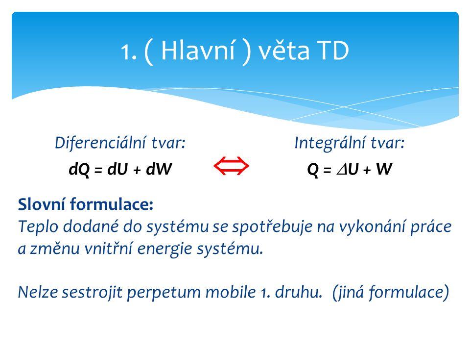 Diferenciální tvar: dQ = dU + dW 1.
