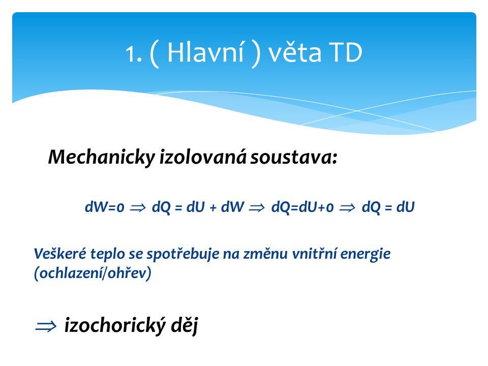 Mechanicky izolovaná soustava: dW=0  dQ = dU + dW  dQ=dU+0  dQ = dU Veškeré teplo se spotřebuje na změnu vnitřní energie (ochlazení/ohřev)  izochorický děj 1.