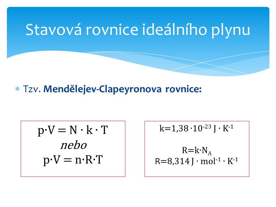  Tzv. Mendělejev-Clapeyronova rovnice: Stavová rovnice ideálního plynu