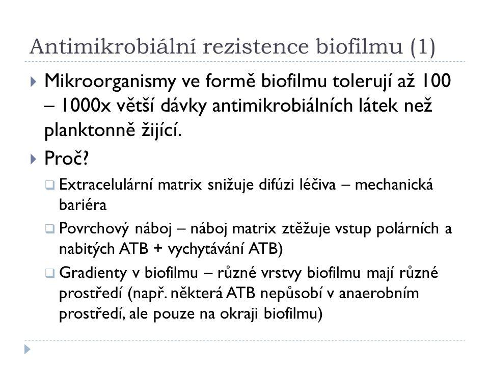 Antimikrobiální rezistence biofilmu (1)  Mikroorganismy ve formě biofilmu tolerují až 100 – 1000x větší dávky antimikrobiálních látek než planktonně žijící.