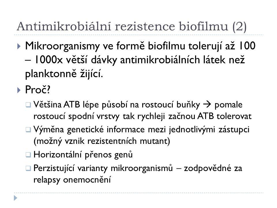 Antimikrobiální rezistence biofilmu (2)  Mikroorganismy ve formě biofilmu tolerují až 100 – 1000x větší dávky antimikrobiálních látek než planktonně žijící.