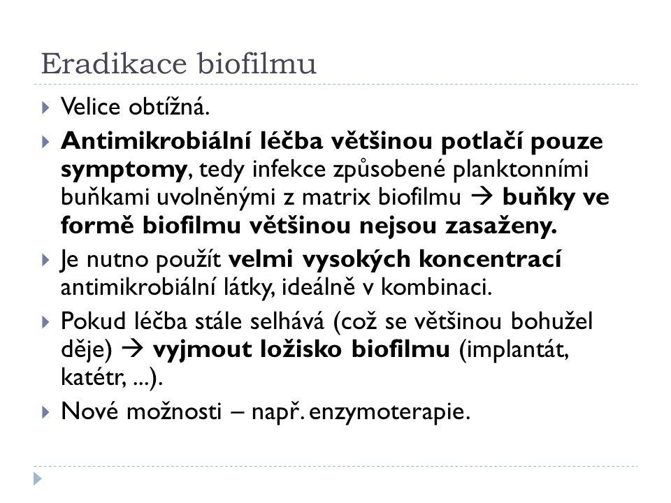 Eradikace biofilmu  Velice obtížná.  Antimikrobiální léčba většinou potlačí pouze symptomy, tedy infekce způsobené planktonními buňkami uvolněnými z