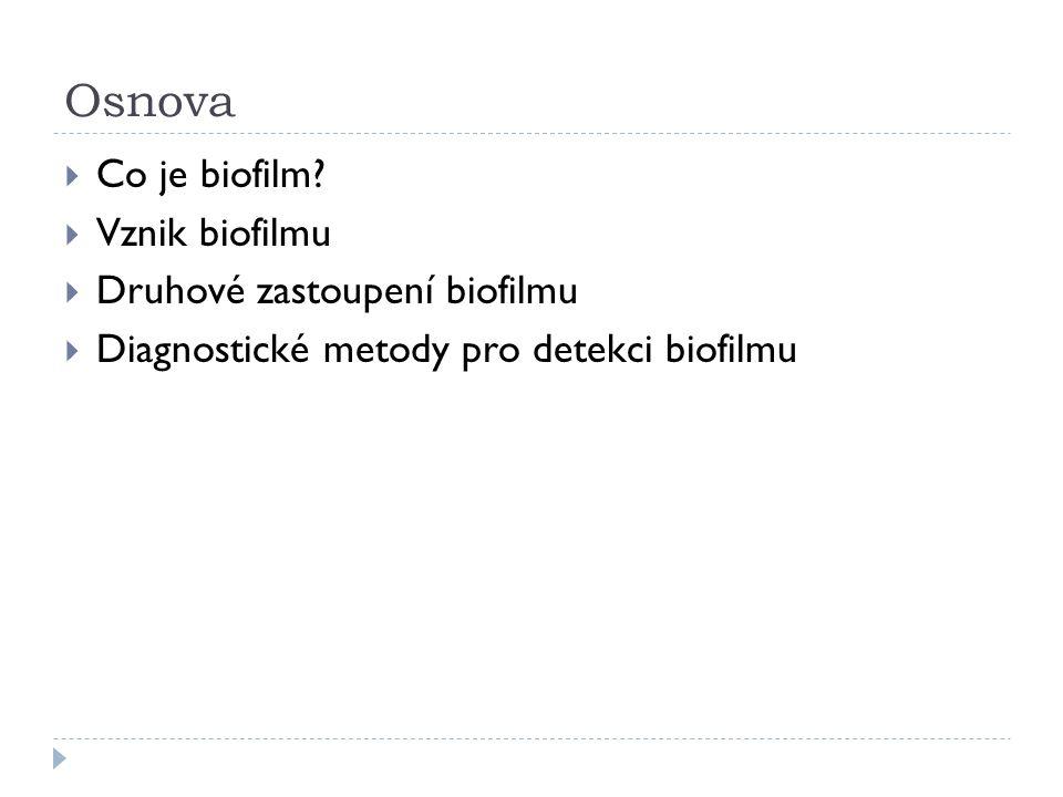 Osnova  Co je biofilm?  Vznik biofilmu  Druhové zastoupení biofilmu  Diagnostické metody pro detekci biofilmu