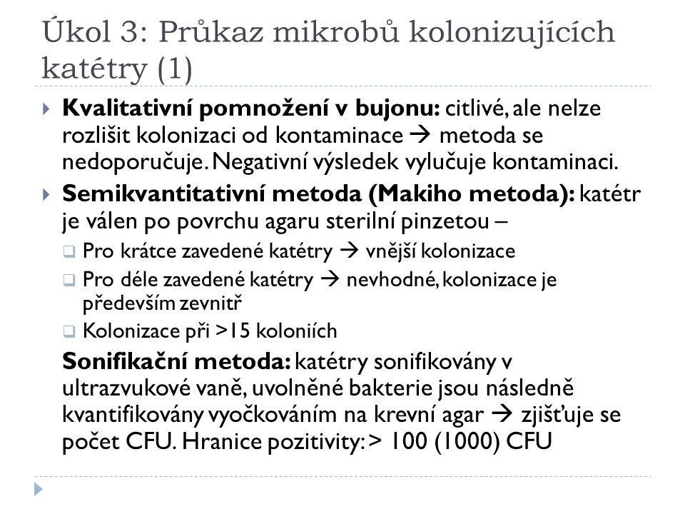 Úkol 3: Průkaz mikrobů kolonizujících katétry (1)  Kvalitativní pomnožení v bujonu: citlivé, ale nelze rozlišit kolonizaci od kontaminace  metoda se nedoporučuje.