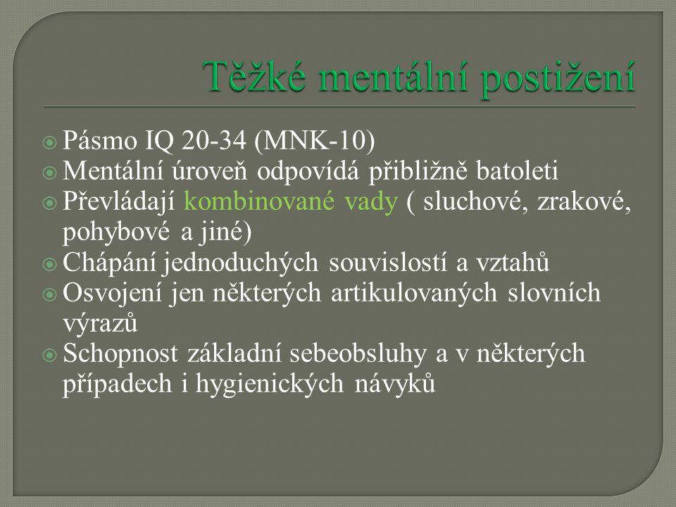  Pásmo IQ 20-34 (MNK-10)  Mentální úroveň odpovídá přibližně batoleti  Převládají kombinované vady ( sluchové, zrakové, pohybové a jiné)  Chápání jednoduchých souvislostí a vztahů  Osvojení jen některých artikulovaných slovních výrazů  Schopnost základní sebeobsluhy a v některých případech i hygienických návyků