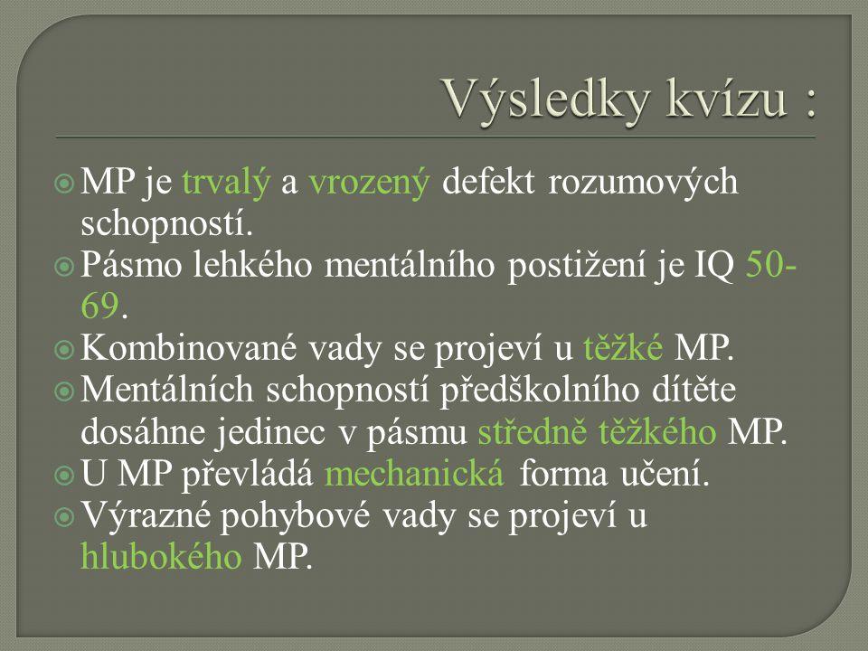  MP je trvalý a vrozený defekt rozumových schopností.  Pásmo lehkého mentálního postižení je IQ 50- 69.  Kombinované vady se projeví u těžké MP. 