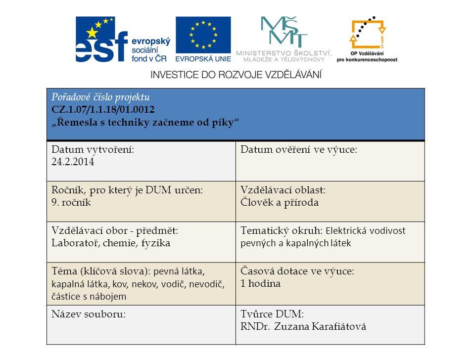 Elektrická vodivost pevných a kapalných látek RNDr. Zuzana Karafiátová