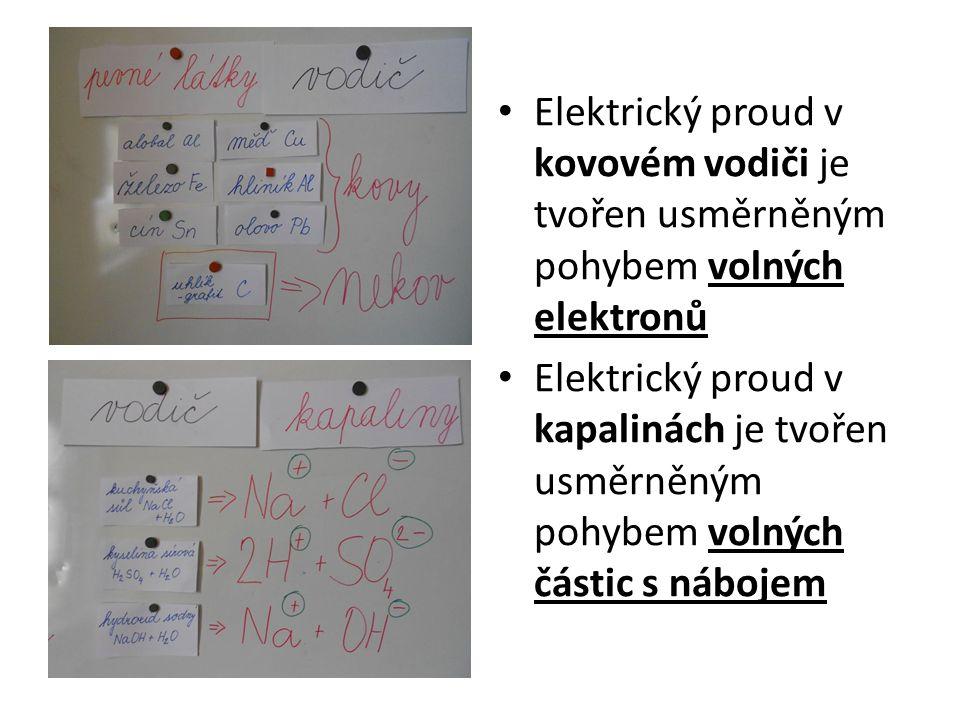 Elektrický proud v kovovém vodiči je tvořen usměrněným pohybem volných elektronů Elektrický proud v kapalinách je tvořen usměrněným pohybem volných částic s nábojem