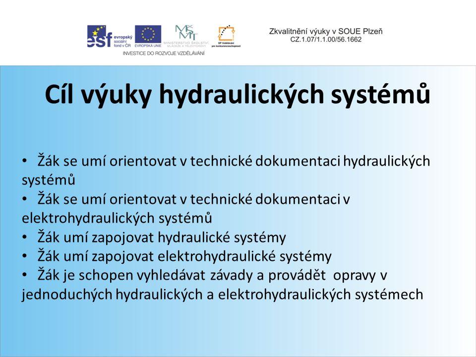 Cíl výuky hydraulických systémů Žák se umí orientovat v technické dokumentaci hydraulických systémů Žák se umí orientovat v technické dokumentaci v el