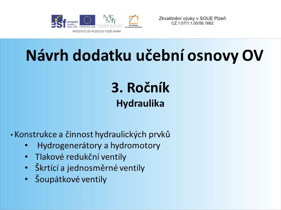 Návrh dodatku učební osnovy OV 3. Ročník Hydraulika Konstrukce a činnost hydraulických prvků Hydrogenerátory a hydromotory Tlakové redukční ventily Šk