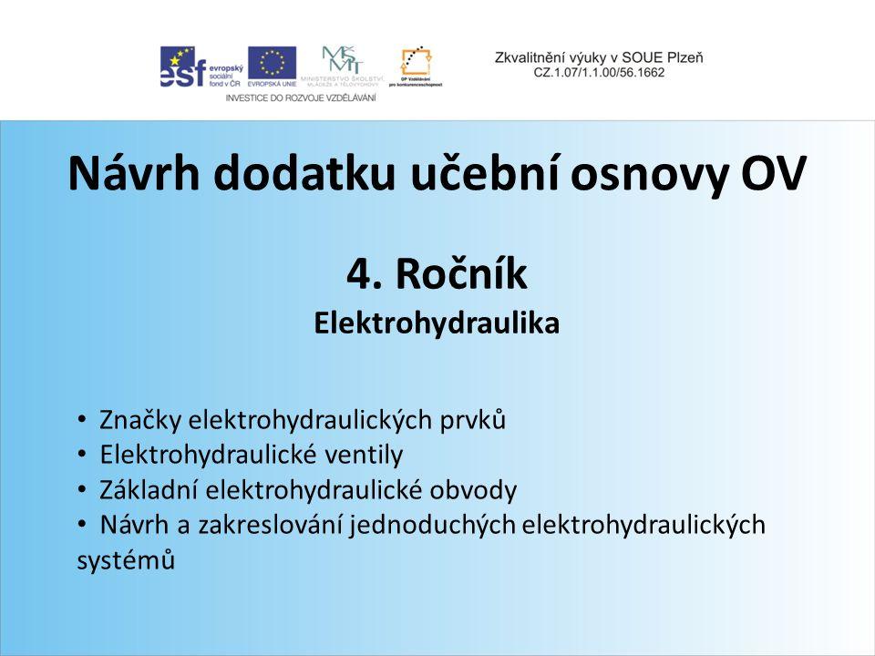 Návrh dodatku učební osnovy OV 4. Ročník Elektrohydraulika Značky elektrohydraulických prvků Elektrohydraulické ventily Základní elektrohydraulické ob