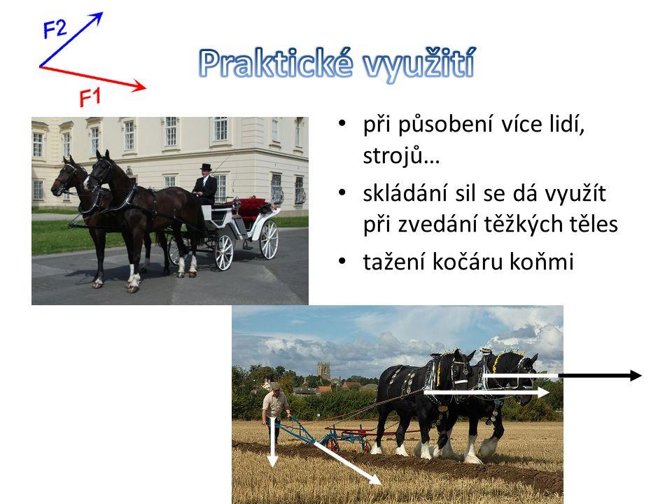 při působení více lidí, strojů… skládání sil se dá využít při zvedání těžkých těles tažení kočáru koňmi
