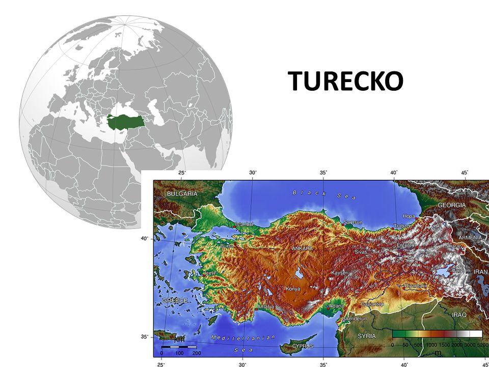 HLAVNÍ MĚSTO – ANKARA POČET OBYVATEL – 75 000 000 STÁTNÍ ZŘÍZENÍ – PARLAMENTNÍ REPUBLIKA MĚNA – TURECKÁ LIRA NÁBOŽENSTVÍ – ISLÁM JAZYK – TUREČTINA Turecko hraničí s Gruzií, Arménií, Ázerbájdžánem a Íránem, Irákem,Sýrií, Řeckem a Bulharskem.