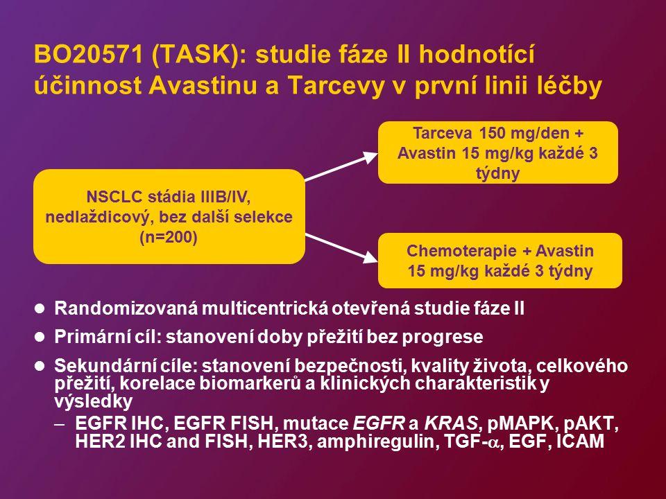 BO20571 (TASK): studie fáze II hodnotící účinnost Avastinu a Tarcevy v první linii léčby Randomizovaná multicentrická otevřená studie fáze II Primární