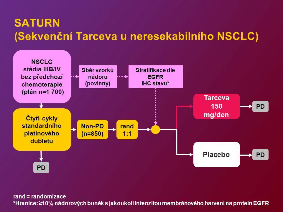PD SATURN (Sekvenční Tarceva u neresekabilního NSCLC) rand = randomizace *Hranice: ≥10% nádorových buněk s jakoukoli intenzitou membránového barvení n