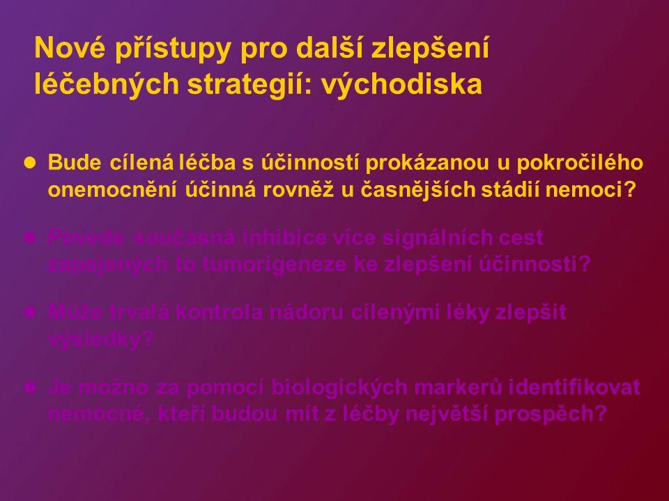 Nové přístupy pro další zlepšení léčebných strategií: východiska Bude cílená léčba s účinností prokázanou u pokročilého onemocnění účinná rovněž u časnějších stádií nemoci.