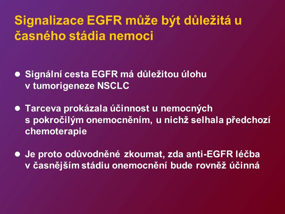 RADIANT: probíhající studie fáze III s Tarcevou v adjuvantní léčbě NSCLC Primární cíl –Stanovení doby přežití bez známek nemoci (DFS) (všichni nemocní; EGFR IHC-pozitivní a/nebo FISH-pozitivní) Další primární cíle –USA = DFS při FISH-pozitivitě –Evropa = bude stanoveno dle výsledků studie SATURN Čtyři cykly standardního chemoterapie s platinou (volitelné) Placebo Tarceva 150 mg/den 2 roky Stádium IB–IIIA EGFR-pozitivní Kompletní resekce Bez radioterapie (n=945) R Stratifikace dle: země; adjuvantní chemoterapie; histologie; stádia; anamnézy kouření; stavu EGFR EGFR = receptor epidermálního růstového faktoru; FISH = fluorescentní in situ hybridizace; IHC = imunohistochemie