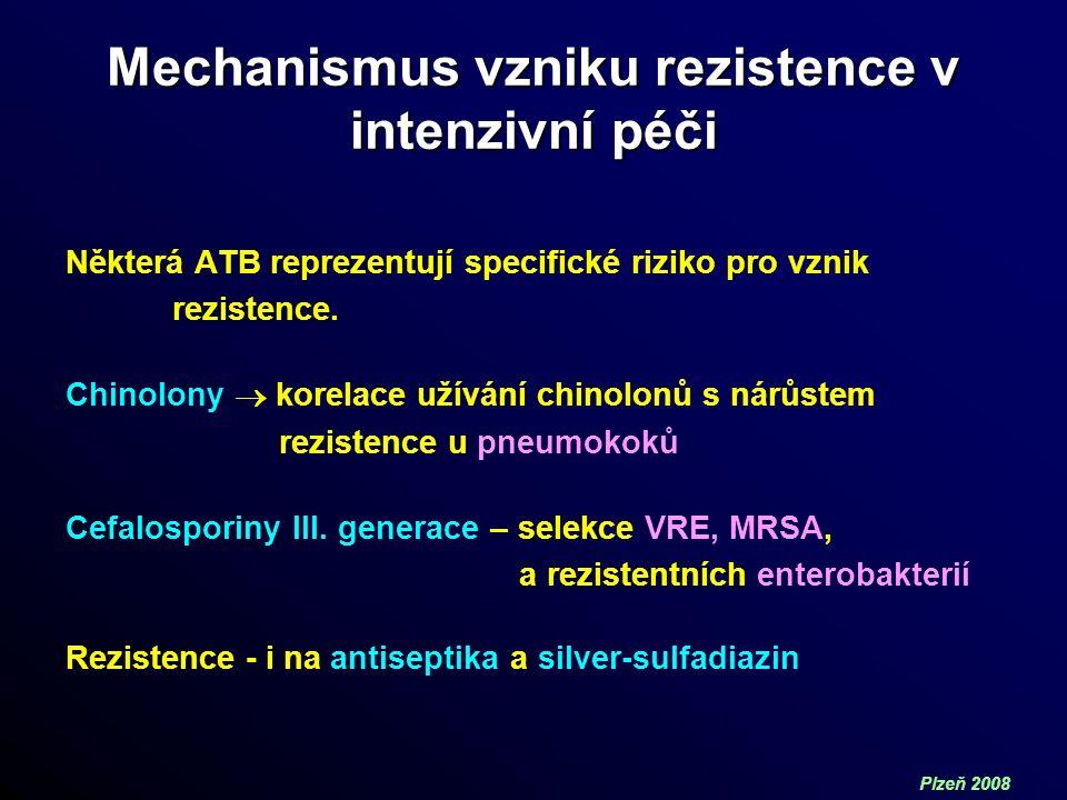 Plzeň 2008 Mechanismus vzniku rezistence v intenzivní péči Některá ATB reprezentují specifické riziko pro vznik rezistence.