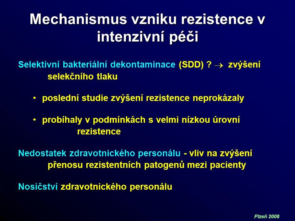 Plzeň 2008 Mechanismus vzniku rezistence v intenzivní péči Selektivní bakteriální dekontaminace (SDD) .