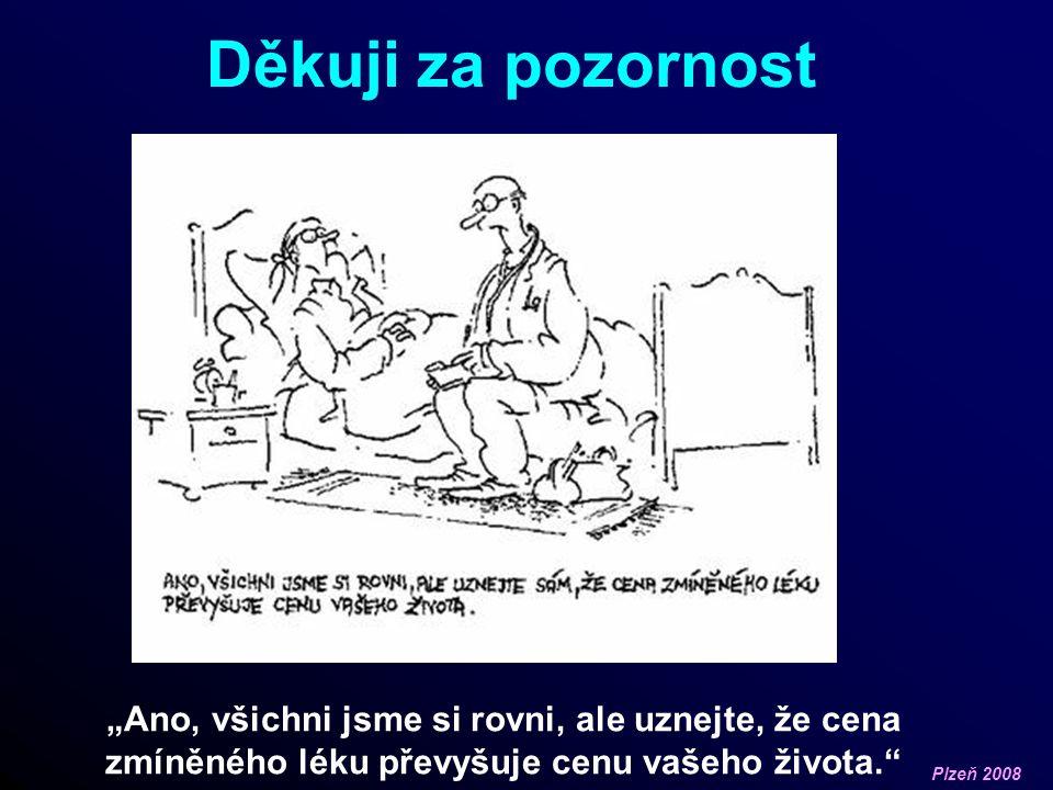 """Plzeň 2008 Děkuji za pozornost """"Ano, všichni jsme si rovni, ale uznejte, že cena zmíněného léku převyšuje cenu vašeho života."""